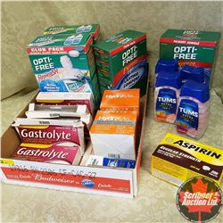 Tray Lot: Tums, Aspirin, Contact/Eye Solution, Gastrolyte, Hydralyte
