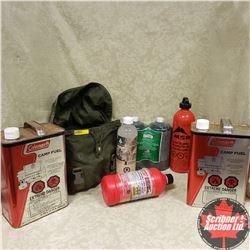 Camp Fuel Combo: (2) Coleman 1 Gal Camp Fuel Cans; MSR Fuel Bottle; Clear Lamp Oil; Propane 2 Pack;