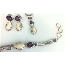 Sterling Silver Elk Ivory and Amethyst Bracelet, Pendant & Earrings from Studio Pandora. Value $1200