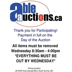ALL ITEMS MUST BE REMOVED BY WEDNESDAY OCT 30TH BY 3:00PM