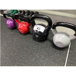 SET OF 4 RUBBER COATED KETTLE BELL WEIGHTS