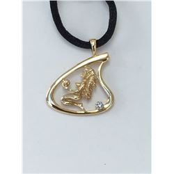 14K Gold Pendant Aquarius