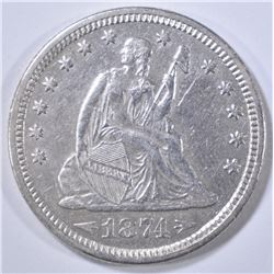 1874 SEATED LIBERTY QUARTER  AU