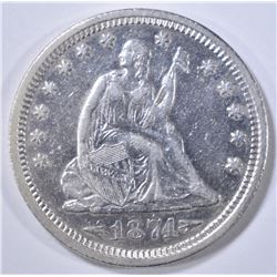 1874-S SEATED LIBERTY QUARTER  AU