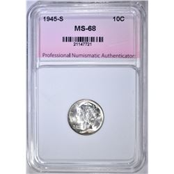 1945-S MERCURY DIME, PNA SUPERB GEM BU+