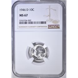 1946-D ROOSEVELT DIME NGC MS-67