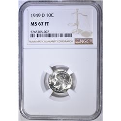 1949-D ROOSEVELT DIME NGC MS-67 FT