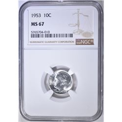 1953 ROOSEVELT DIME NGC MS-67