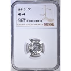 1954-S ROOSEVELT DIME NGC MS-67