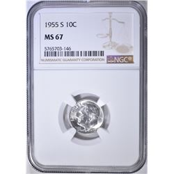 1955-S ROOSEVELT DIME NGC MS-67