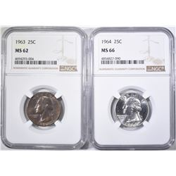 2-NGC GRADED WASHINGTON QUARTERS: