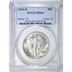 1943-D WALKING LIBERTY HALF PCGS MS-64
