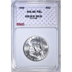 1959 FRANKLIN HALF DOLLAR, RNG GEM BU FBL