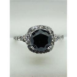 WHITE GOLD BLACK DIAMOND RING (1.6DIActs) SIZE 6