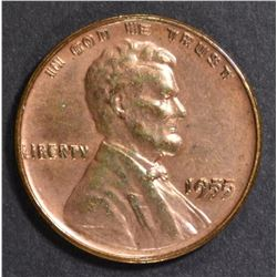 1955 LINCOLN CENT  DOUBLE DIE CH BU