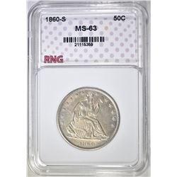 1860-S SEATED HALF DOLLAR  RNG CH BU