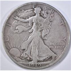 1919-D WALKING LIBERTY HALF DOLLAR  F-VF
