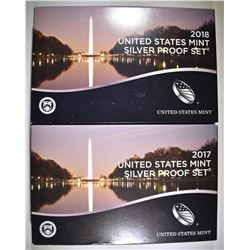2017 & 2018 U.S. SILVER PROOF SETS ORIG PACKAGING