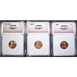 1965 SMS 68 & 68-D LINCOLN CENTS, WHSG GRADED: