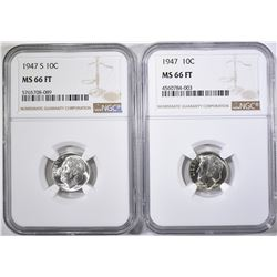 1947-P,S ROOSEVELT DIMES NGC MS-66 FT