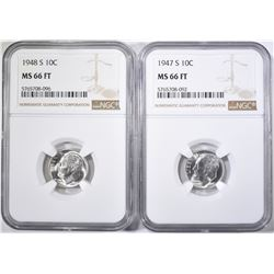 1947-S & 48-S ROOSEVELT DIMES NGC MS-66 FT