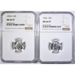 1954-P,S ROOSEVELT DIMES NGC MS-66 FT