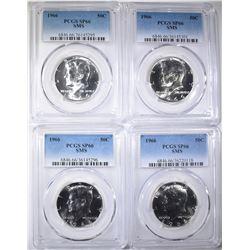 4-1966 SMS KENNEDY HALF DOLLARS, PCGS SP-66