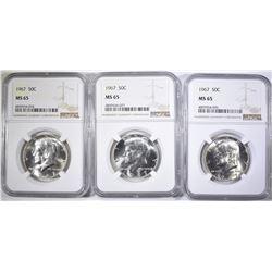 3-1967 KENNEDY HALF DOLLARS, NGC MS-65