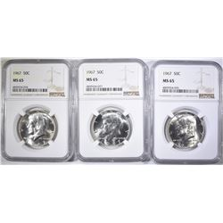 3-1967 KENNEDY HALF DOLLARS, NGC MS-65