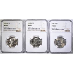 1980-P&D & 81-D S.B.A. DOLLARS, NGC MS-66