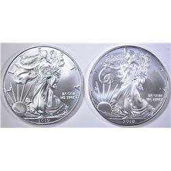 2010 & 2019 AMERICAN SILVER EAGLES