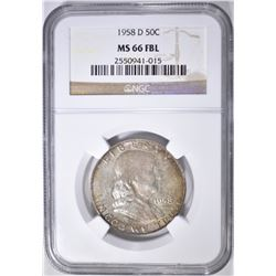 1958-D FRANKLIN HALF DOLLAR  NGC MS-66 FBL