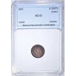1870 5 CENTS CANADA  NNC BU