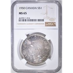 1950 SILVER DOLLAR CANADA  NGC MS-65