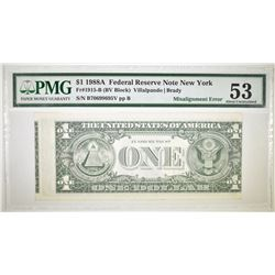 1988 A $1 FEDERAL RESERVE NOTE NEW YORK PMG 53