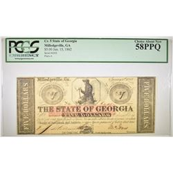 1862 $5 STATE OF GEORGIA  PCGS 58 PPQ