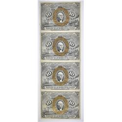1863 10 CENT 3RD ISSUE STRIP OF 4