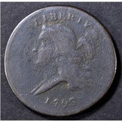 1793 HALF CENT   VF POROUS