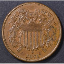 1871 2-CENT PIECE XF+