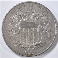 1872 SHIELD NICKEL, XF