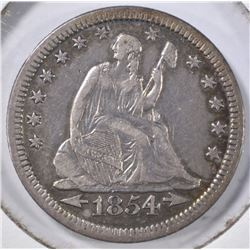 1854 ARROWS SEATED QUARTER, VF/XF