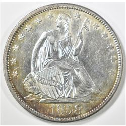 1858 SEATED LIBERTY HALF CH BU OLD CLEANING