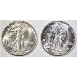 (2) 1942 WALKING LIBERTY HALVES, CH BU