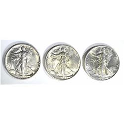 3 - 1944-S WALKING LIBERTY HALF DOLLARS