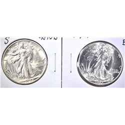 1944 GEM BU  & 44-S CH BU WALKING LIBERTY HALVES