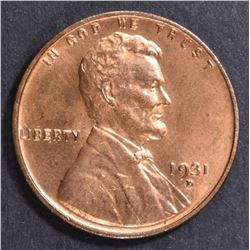 1931-D LINCOLN CENT  GEM BU RB
