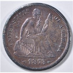 1873-S ARROWS SEATED LIBERTY DIME  BU