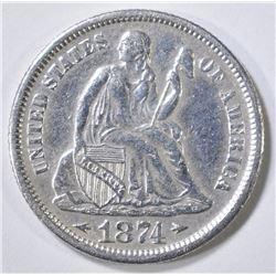 1874 SEATED LIBERTY DIME  AU