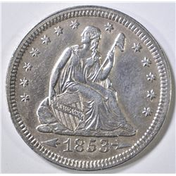 1853 ARROWS & RAYS SEATED LIBERTY QUARTER  AU/BU