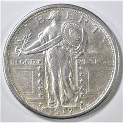 1917 TYPE 1 STANDING LIBERTY QUARTER  AU/BU